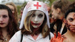 В Париже и Лондоне прошел всемирный день зомби '2017
