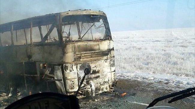Трагедия в Казахстане: 52 пассажира автобуса сгорели заживо