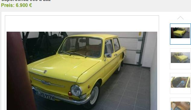 В Германии ЗАЗ-968 продается за 6,9€ тысяч