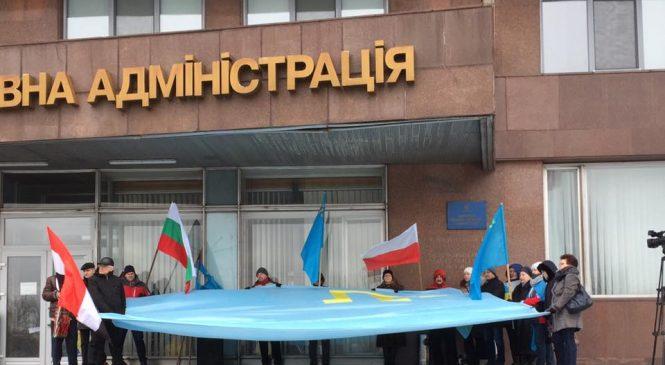 В Запорожье прошла акция протеста против проведения выборов президента России в Крыму