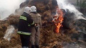 В частном дворе Запорожской области загорелось 20 тонн соломы и грузовик: спасатели около двух часов тушили пожар