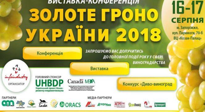 Для любителей виноградарства и вина в Запорожье проведут выставку-конференцию «Золотая гроздь Украины 2018»