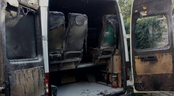 В Запорожье подожгли маршрутку (Фото)