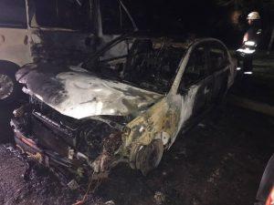 У Запоріжжі вночі згоріли чотири автівки за один раз (фото)