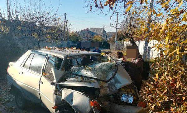 В Запорожье водителю «Славуты» стало плохо  за рулем: авто врезалось в дерево (Фото)