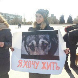У Запоріжжі зоозахисники та лис закликали відмовитися від хутра (фото)